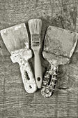 Different tools on a wooden background. — Stock Photo
