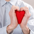 Man with red heart — Stock Photo