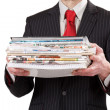 Businessmwith stack of paper — Stockfoto #8791355