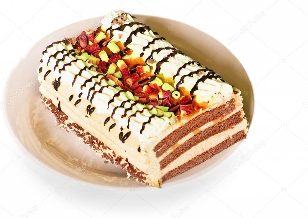 Cake on saucer — Stock Photo #9695847