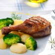 Stock Photo: Roasted duck thigh