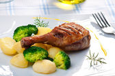 Roasted duck thigh — Stock Photo