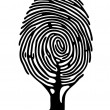 Stock Vector: Finger print tree