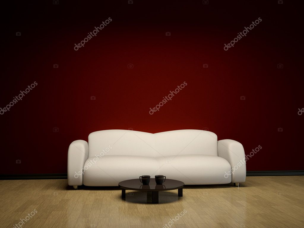 Interior with a white sofa and a brown table — Stock Photo #10036095