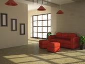 Canapé rouge et une plante — Photo