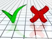 Green and red checkmark — Stock Photo