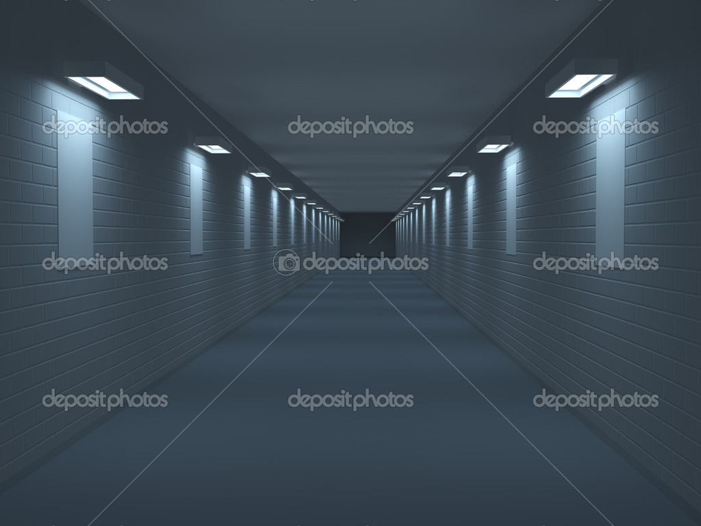 Long corridor with pictures on a wall — Stock Photo #8605275