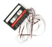 Old audio cassette isolated on white — Stock Photo