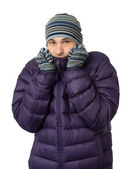 Man in winter clothes shivering from the cold — Stock Photo