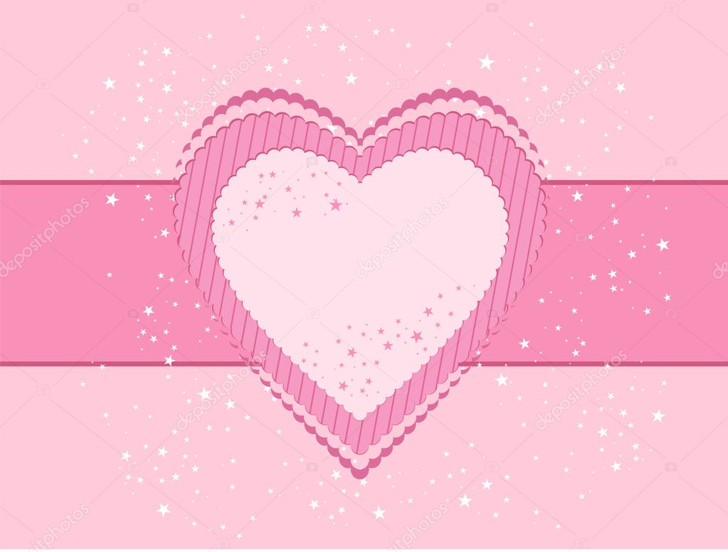 Valentine's day postcard with heart  Stock Vector #8723706