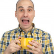 Man burnt cup of tea — Stock Photo
