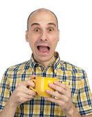 Man burnt cup of tea — Stock Photo