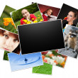 Collection of photos with blank frame - Stock Photo