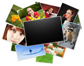 Collection of photos with blank frame — Stock Photo