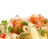Rigatoni pasta closeup — Stock Photo