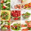 Vegetable salad collage made from nine photographs — Stock Photo