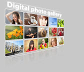 Media gallery con foto su uno sfondo grigio — Foto Stock