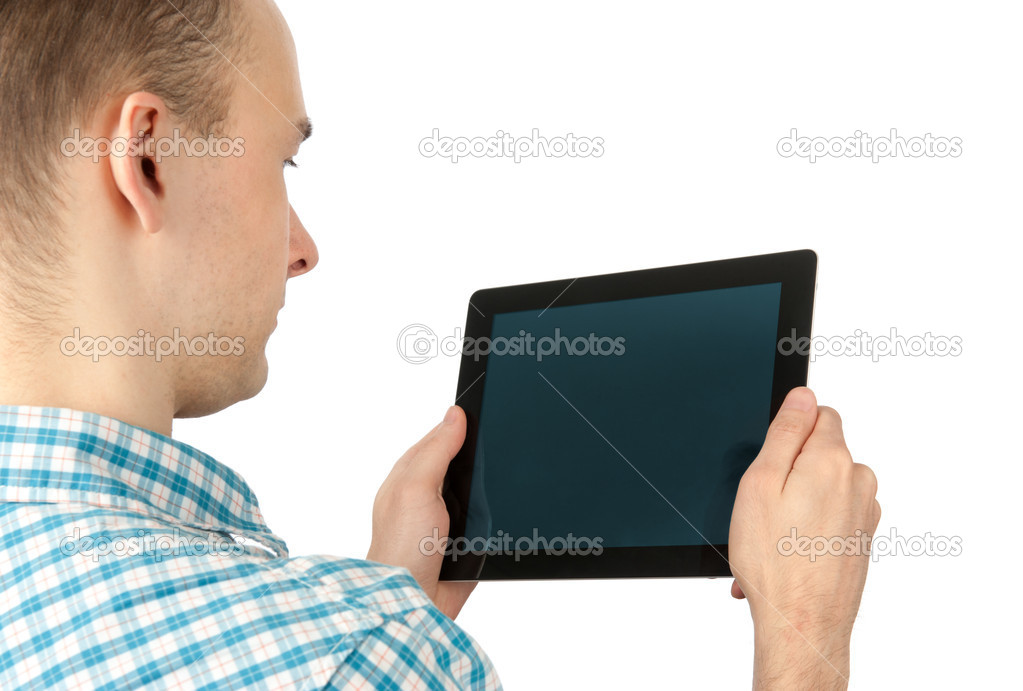 Man Using Tablet Computer — Stock Photo #9973854