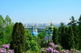 Wydubicki w kijowie klasztor z kwitnące lila — Zdjęcie stockowe