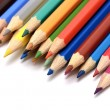 Stock Photo: Colour pencils isolated on white background close up