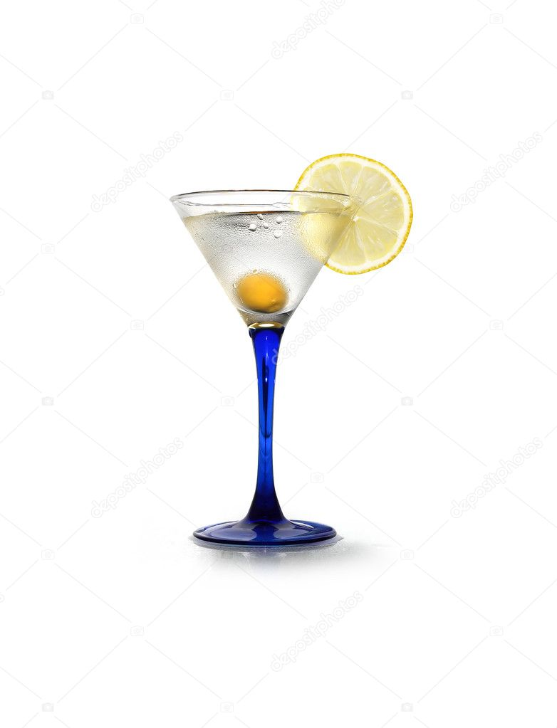Stylish martini glass with lemon and olive on white background. Isolated with clipping path — Stock Photo #10569180