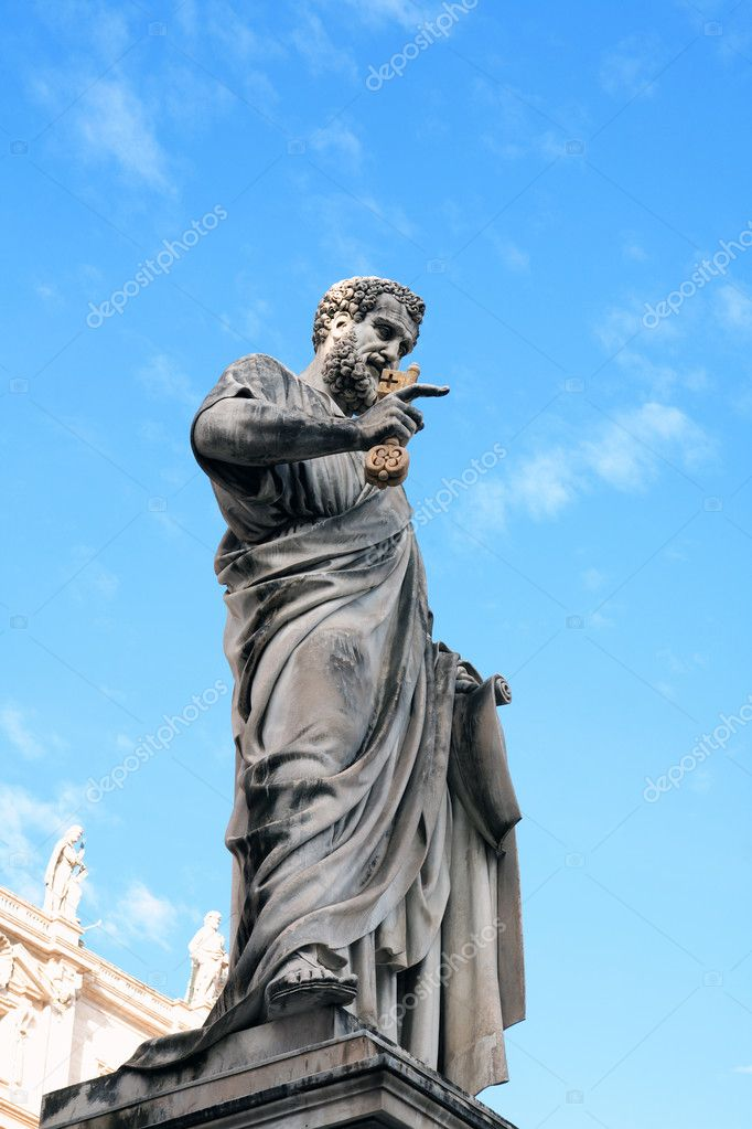 Statue of Saint Peter the Apostle holding a gold key,Vatican,Italy  Stock Photo #8581804