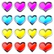 Buttons-hearts — Stock Vector