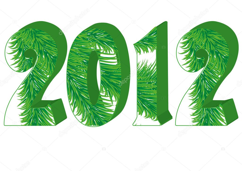Christmas greetings card with fir tree in 2012 number, vector illustration — Vettoriali Stock  #8035936