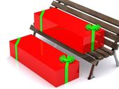 Present boxes on bench — Stock Photo