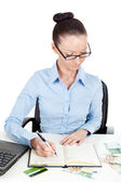 Business woman at office desk — Stock Photo