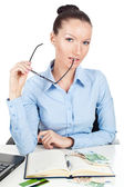 Businesswoman with glasses in hand — Stock Photo