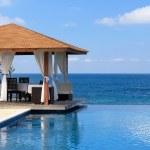 Pavilion and swimming pool near Atlantic Ocean — Stock Photo #8484770
