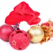Royalty-Free Stock Photo: Santa hat and christmas balls