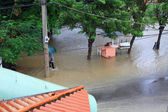 Flood in town — Stock Photo