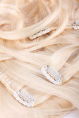 Hair blond extensions set — Stock Photo