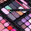 Make up brush on make-up eyeshadows set - Stock Photo