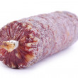 Smoked sausage on white - Stock Photo
