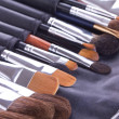 Stock Photo: Make-up brushes in leather case