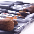 Set of make-up brushes in case - Stock Photo