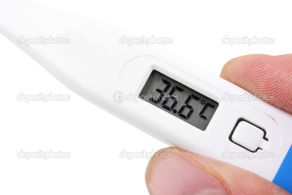 Thermometer in hand, close up on white — Stock Photo #9707049