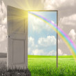 Sun rays and open door — Stock Photo #10070803