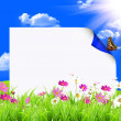 White sign with flowers — Foto de Stock