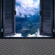 Door with clouds — Stock Photo