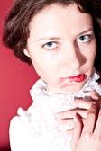 赤い唇を持つ女性 — ストック写真