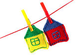 Two knitted colorful houses — Stock Photo