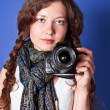 Beautiful woman-photographer - Stock Photo