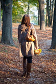 Woman in autumn park — Stok fotoğraf