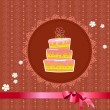 Celebratory cake on a vintage background — Stock Vector