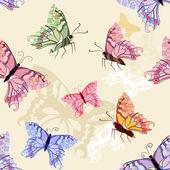 Butterflies seamless background — Stock Vector
