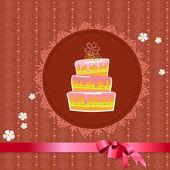 复古背景上庆祝蛋糕 — 图库矢量图片